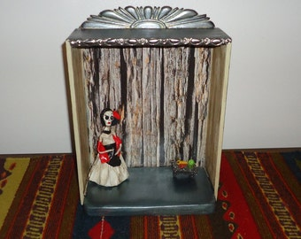 Wood Nicho or Memory box with Doll