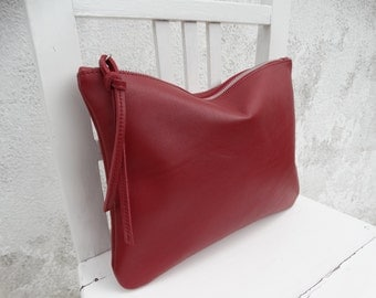 Red Burgundy Leather Pouch/Big Leather Clutch/Zipper Clutch/Ready to ship