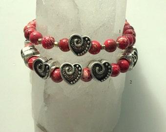 Heart Bracelet - Tibetan Silver Hearts and Red Sea Sediment Jasper Chunky Bracelet Set or Singles - Adjustable Stretch Bracelet