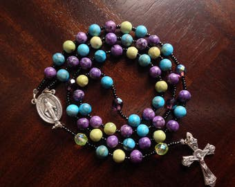 A-Rainbow Gemstone Rosary/Silver Miraculous Center/Lime and Purple Pater Noster