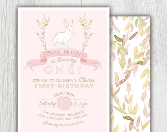 Printable Bunny birthday invitation - Some bunny is turning one - Floral bunny - First birthday - Easter spring birthday - Customizable