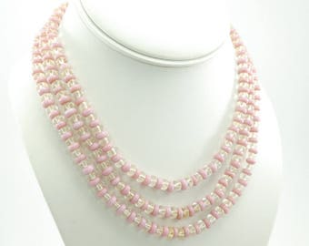 Vintage Pink Glass Bead Necklace, Triple Strand, Clear Glass Beads