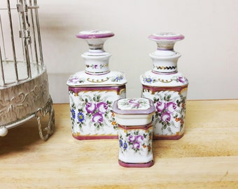 Exquisite Trio of Hand Decorated Bohemian Porcelain Dressing Table Pots