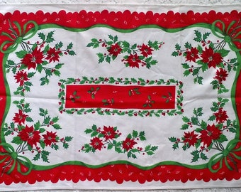 Vintage Red Green and White Christmas Poinsettia Holly Floral Print Table Runner Kitchen Tea Towel - 100% Cotton
