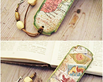 Travel Theme Map Wood Bookmark, Vintage Map Bookmark, Travel Lover gift, Atlas Bookmark, Traveler bookmark, Gifts for Reader, Postage Stamps