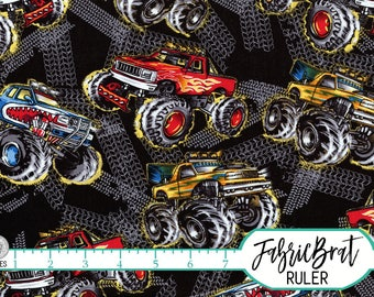 MONSTER TRUCK Fabric by the Yard, Fat Quarter Big Trucks On Black Fabric Boy Quilting Fabric Apparel Fabric 100% Cotton Fabric Yardage t3-37