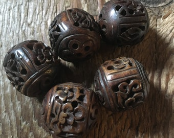 "Rosewood Jumbo Round Bone Bead ""Flower"" Hand Carved - Bone - Bead Size 22mm - Waxed - Large Hole - Center Drilled - 02 Beads per Order"