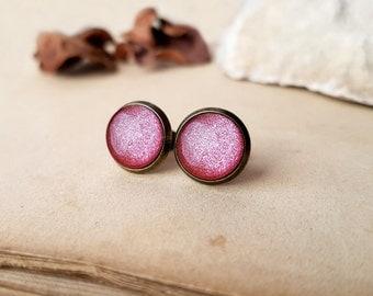 Ice Pink Earrings, tiny stud earrings, pink glitter earrings, Libra earrings, 12mm studs, 16mm earrings, bridal earrings, bridesmaid studs