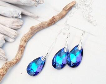 Sterling Silver Swarovski Earrings Necklace Set-Swarovski Crystal Jewellery-Blue Multi Tone Heliotrope Bridesmaids Teardrop Dangle Earrings