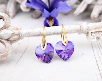 Purple Swarovski crystal earrings Heliotrope heart earrings jewellery Silver gold bridesmaids earrings Bridesmaids gift Small kids earrings