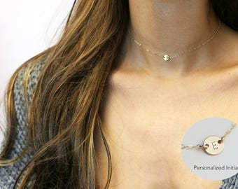 Initial choker necklace - Personalized coin disc necklace in Gold filled or Sterling silver // Gifts for her under 25 //EC11