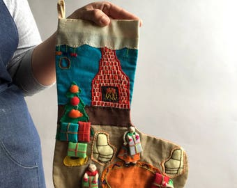 Vintage Handmade Christmas Stocking / Quilted Folk Art Christmas Stocking with figures