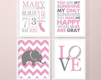 birth announcement wall art girl, personalized baby girl room decor, birth announcement girl, new baby girl nursery decor, birth stats print