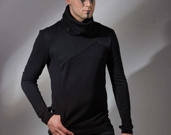 Cyberpunk turtleneck sweater with one pocket, avant-garde jumper asymmetric military pullover sleeves with thumb holes  - GR3
