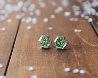 Greenery Hexagon glitter Stud Earrings, sparkling posts, CuteBirdie