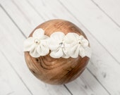 Ready to Ship Pink Peach Off White Baby Headband - Baby Girl Headband - Baby Headband - Baby Girl Headwrap - Baby Headwrap RTS