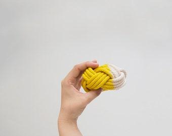 Yellow dyed bangle, hand dyed bracelet, hand dyed bangle, chunky bracelet, macrame bracelet, chunky bangle, rope bracelet, nautical bangle