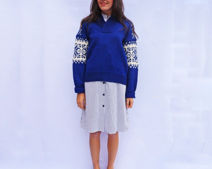 Hand Knitted Sweater, Vintage 80s Blue Wool Nordic Sweater, Loose Jumper, Oversized Norwegian Pullover, Icelandic Knit, Christmas Jumper