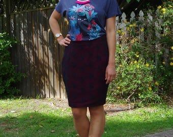 Burgundy black lace pencil skirt