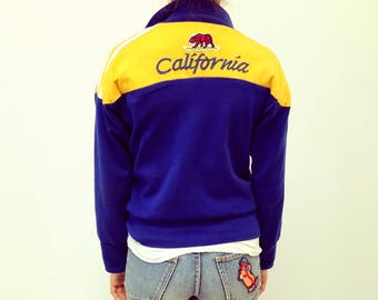 California Bear Jacket // vintage 70s sports dress boho shirt hipster hippy hippie athletic blue 1970s tee t-shirt t // S/M
