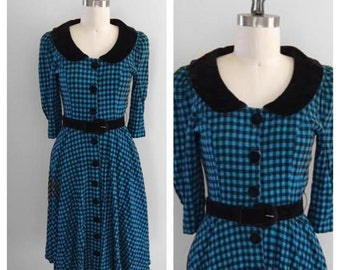 Vintage 1980s Peter Pan Collar Gingham Dress With Belt Rockabilly Punk Size 6 80s does 50s Karin Stevens