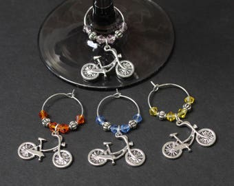 Bicycle Wine Glass Charms-Set of 4-BIKE001-4