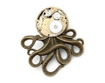 Mechanical Octopus Brooch Pin  - The Brainiacs Antique Bronze Tone Octopus Pin - Edwardian Steampunk Brooch