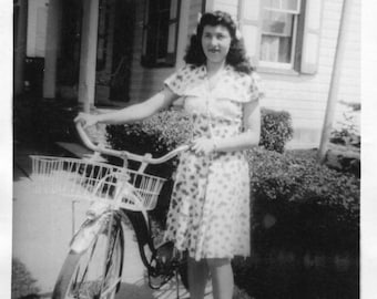 Vintage Photo..A Girl and Her Bicycle, 1940's Original Found Photo, Vernacular Photography