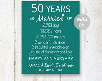 50th Anniversary Gift - 50 years Wedding Anniversary - Personalized 1967 Wedding Print - Anniversary Print - DIGITAL FILE!