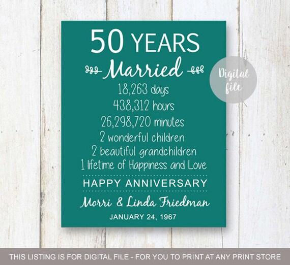 Wedding Anniversary Gifts 50 Years : 50th Anniversary Gift50 years Wedding AnniversaryPersonalized ...