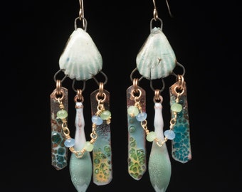 Seaside earrings, assemblage earrings, rustic beach style mixed dangles with artisan beads, gemstone chain and art enamels