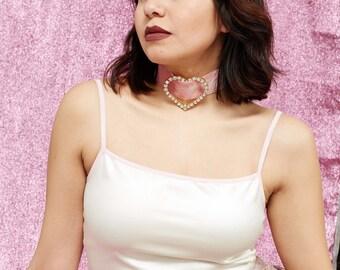 Humongous Rhinestone Heart Thick Pink Velvet Choker
