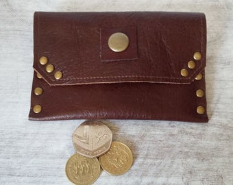 Leather coin purse, Purse,  Leather card holder, 3rd Wedding Anniversary Gift, Change Purse, Business card holder, Coin Wallet, Dark Brown