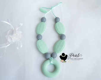 Mint green gray Silicone nursing necklace teething necklace sensory necklace ring oval round teether chewelry mom girl toddler baby mommy