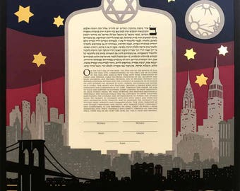 Papercut Ketubah Full NYC Skyline. Colorful multilayer view of New York City with the Brooklyn Bridge and major buildings.