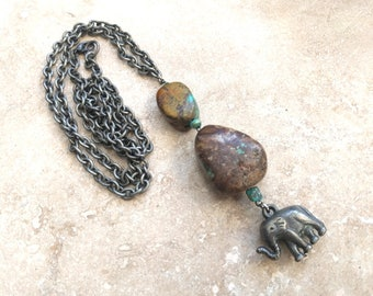 Elephant Pendant Necklace with Large Stone Accents and Rustic Boho Long Chain, Handmade Long Layering Necklace, Elephant Lover, Tribal