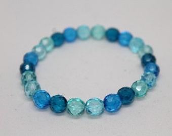 Blue Ombré Faceted Bead Stretch Bracelet