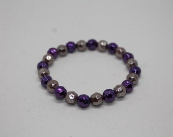 Gold and Purple Faceted Bead Stretch Bracelet