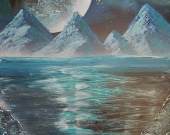 Spray paint art Blue planet 14x22 postercard