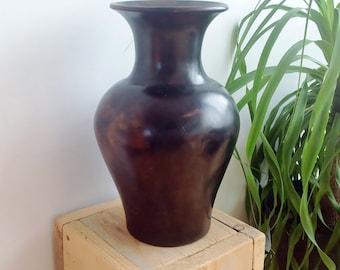 African Pottery, Rustic Home Decor, Handmade Ceramics, Ethiopian Vase, Tribal Ethnic Home Decor, Brown Black Decorative Vase, Bohemian Decor