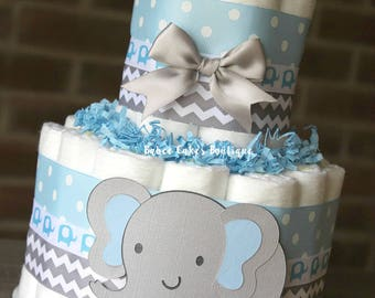 2 Tier Elephant Diaper Cake, Blue Gray Elephant Baby Shower, Boy, Baby Shower Centerpiece, Blue Grey Chevron Elephant Shower Decor