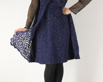 Blue night guipure dress (M)