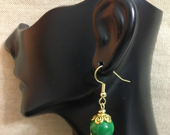 Green Glass Beaded with Gold Tone Bead Caps & Accents Dangle Earrings