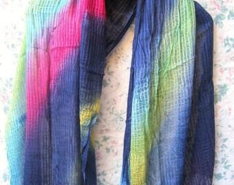 Bluish Boho Scarf,  Multi Colored Scarf, Hand Dyed Scarf, Tie Dye Scarf, Bohemian Scarf, Blue Scarf, Fashion Scarf, Summer Scarf, Scarf