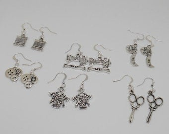 Crafty Earrings, Dangle Sewing Charms, Gifts for Seamstress, Quirky Crafting Fashion Accessory, Sewing Basket Idea, Tailor Present, Fun