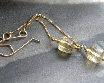 Faceted Citrine Tube Earrings,  Shoulder Duster, Women's Jewelry, Genuine Yellow Citrine, Gold Fill, KarenWolfeCreations