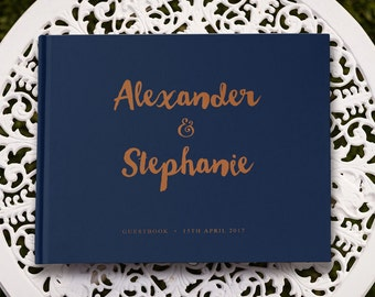 Copper Wedding Guestbook, Navy Guest Book, Navy Wedding Guest Book, Navy Blue Guest Book, Navy Blue Wedding, Modern Wedding Guest Book GB064