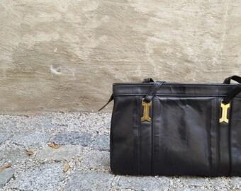 Vintage leather shoulder bag - 80s
