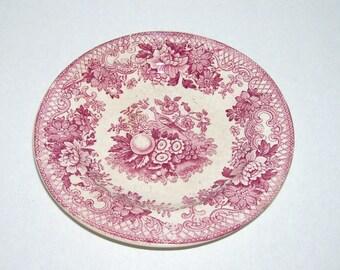 Antique Red Pink Transferware Bird Fruit Flowers Child 5 Inch Plate