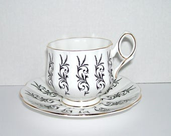 Royal Talbot Exquisite Black and White Bone China Cup and Saucer